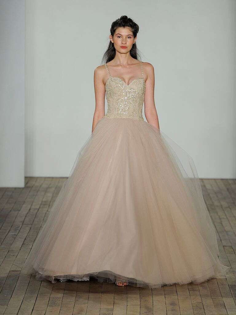 Lazaro Fall 2018 Wedding Dresses Champagne Tulle Ball Gown