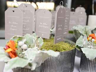 Greige-colored escort card display in moss