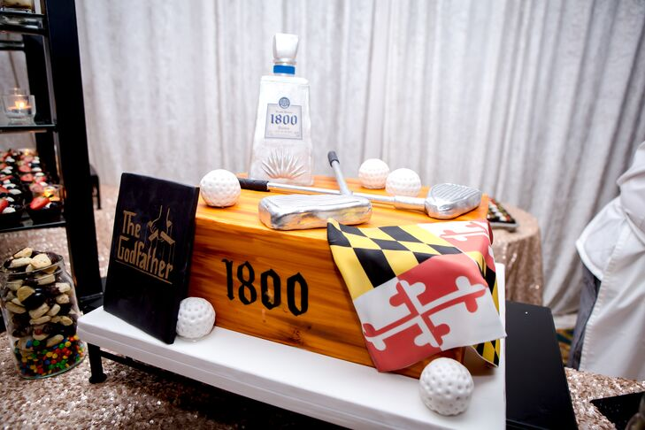 "The groom's cake that Beth gifted to Stephen was decorated with his favorite things, including golf balls, golf clubs and ""The Godfather."""