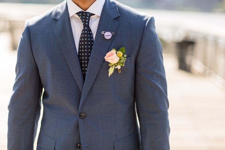 Blue Hugo Boss Suit and Peach Boutonniere