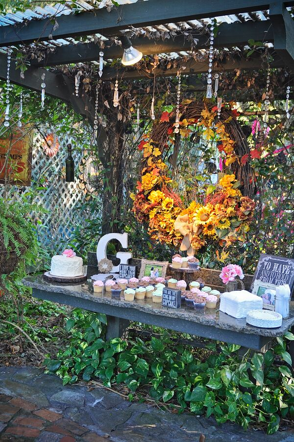 Lush Garden Dessert Display With Fall Wreath