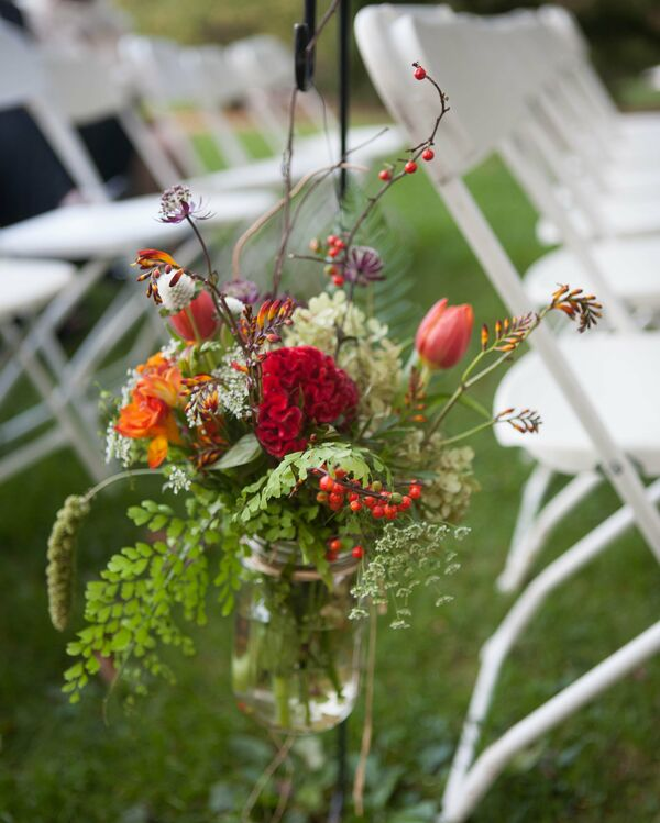 Muted Fall Ceremony Flowers