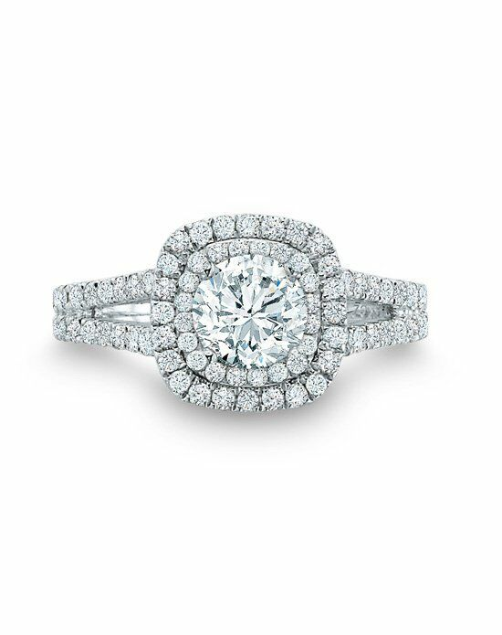 Vera Wang LOVE at Zales Vera Wang LOVE Collection 2 CT. T.W. Diamond Frame Split Shank Engagement Ring in 14K White Gold  18628313 Engagement Ring photo