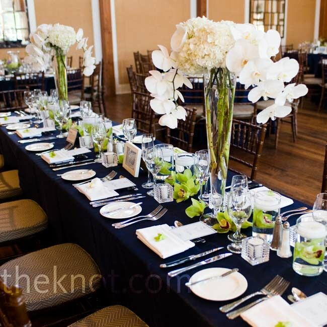 Hydrangea And Orchid Centerpieces : Hydrangea and orchid centerpieces