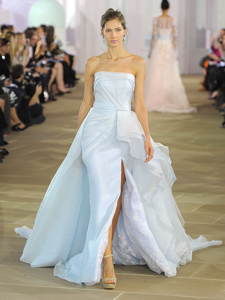 Pale Blue Ines DiSanto Strapless Wedding Gown With Painted Floral Organza