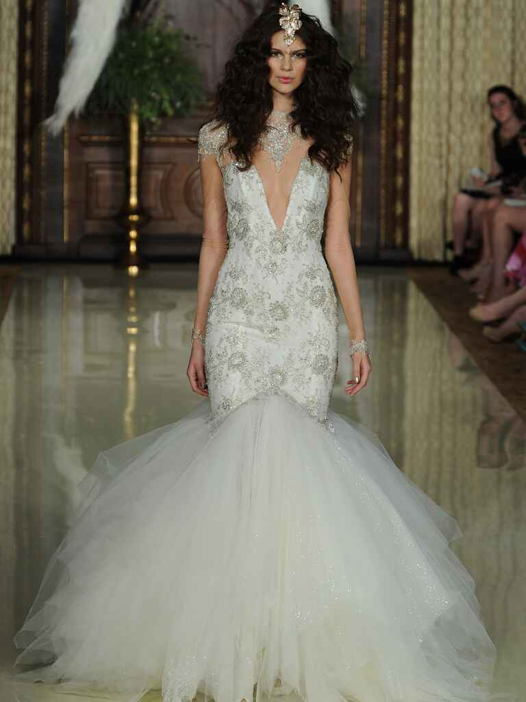 Galia Lahav mermaid style deep v-neck hand embroidered wedding dress from Spring 2016