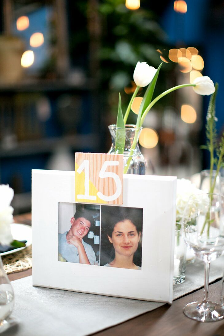 "The fun-loving couple put their personal stamp on the table numbers, filling frames with pictures of themselves at the age corresponding to the table's number. ""I felt terrible for everyone who had to sit at table 15 – 17 during our collectively awkward years,"" says Danielle."