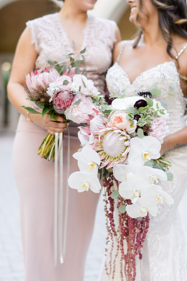 Cascading Protea, Orchid and Amaranthus Bouquet