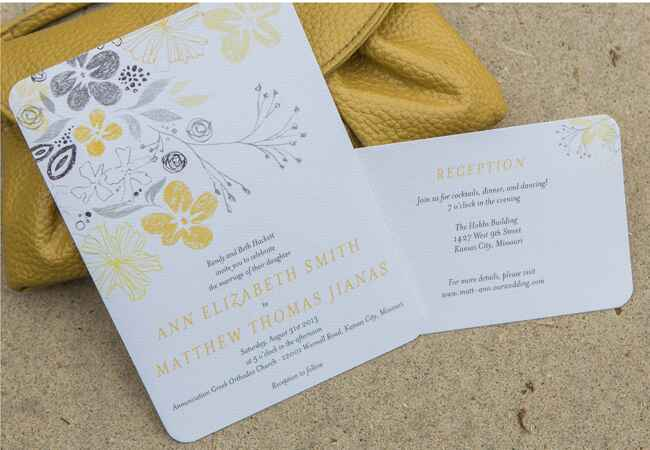 Yellow & Gray Sketched Flower Invitations |<img class=