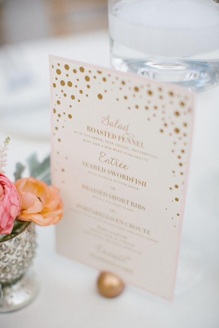 Gold Polka Dot Wedding Reception Menu Cards