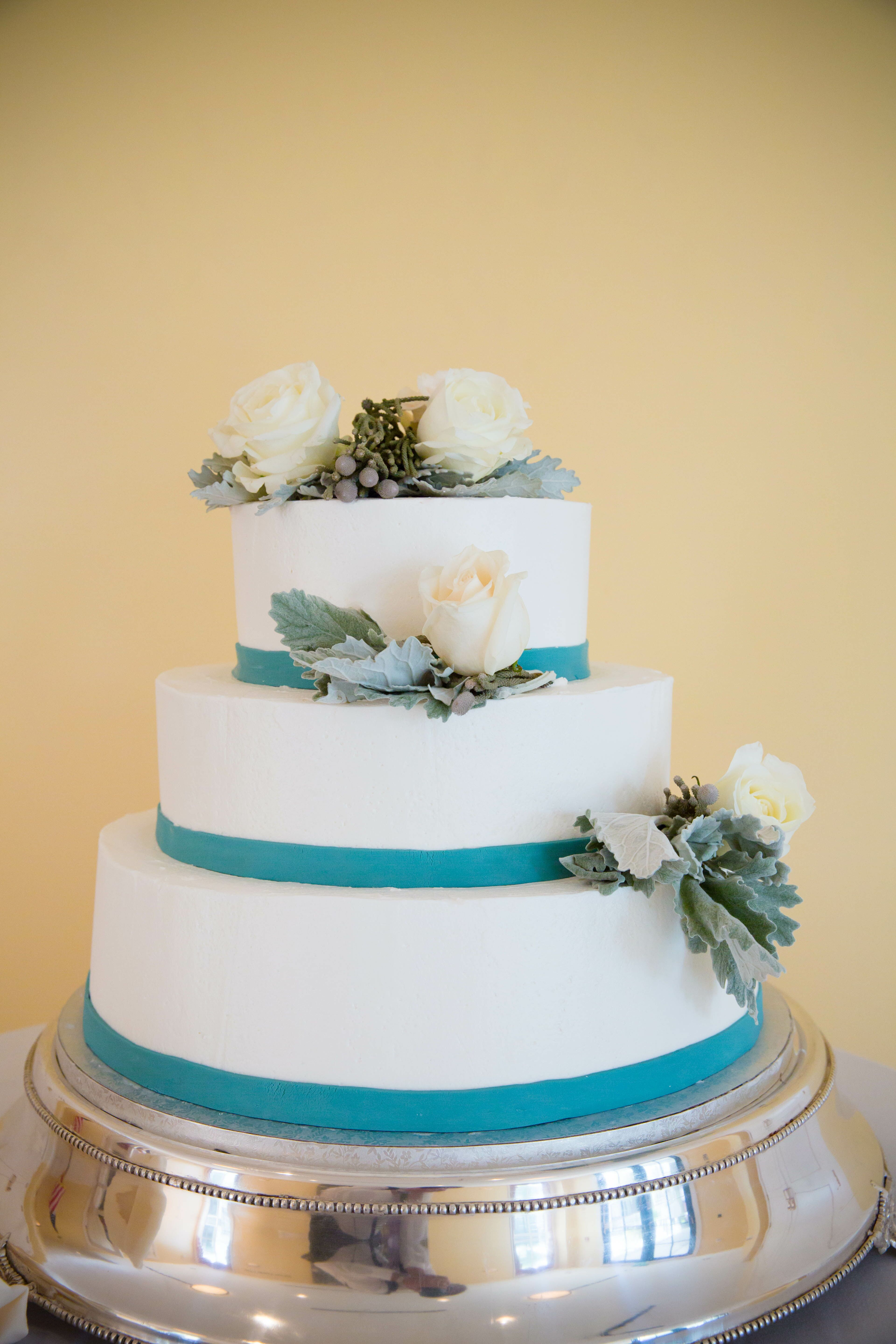 Ivory and Teal Tiered Wedding Cake