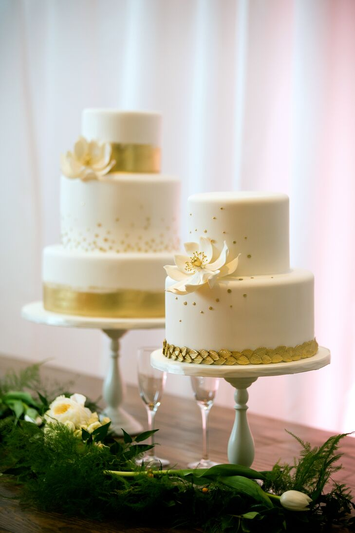 White Wedding Cakes With Gold Accents