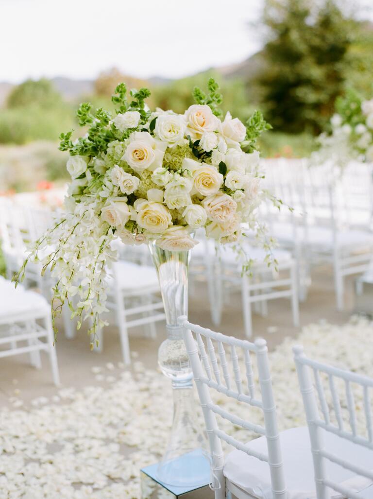 All-white rose aisle decor