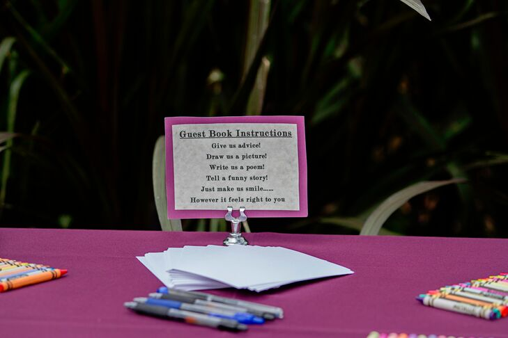 Ashley and Roshan provided pens, markers and crayons for guests to write their well wishes with on index cards.