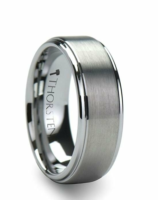 Larson Jewelers OPTIMUS Raised Center with Brush Finish Tungsten Ring - 6mm - 10mm Wedding Ring photo