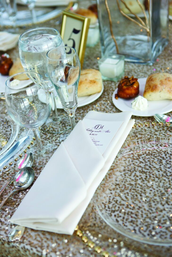 Classic menu cards, which mimicked the style of all the wedding paper, were tucked into crisp white napkins.