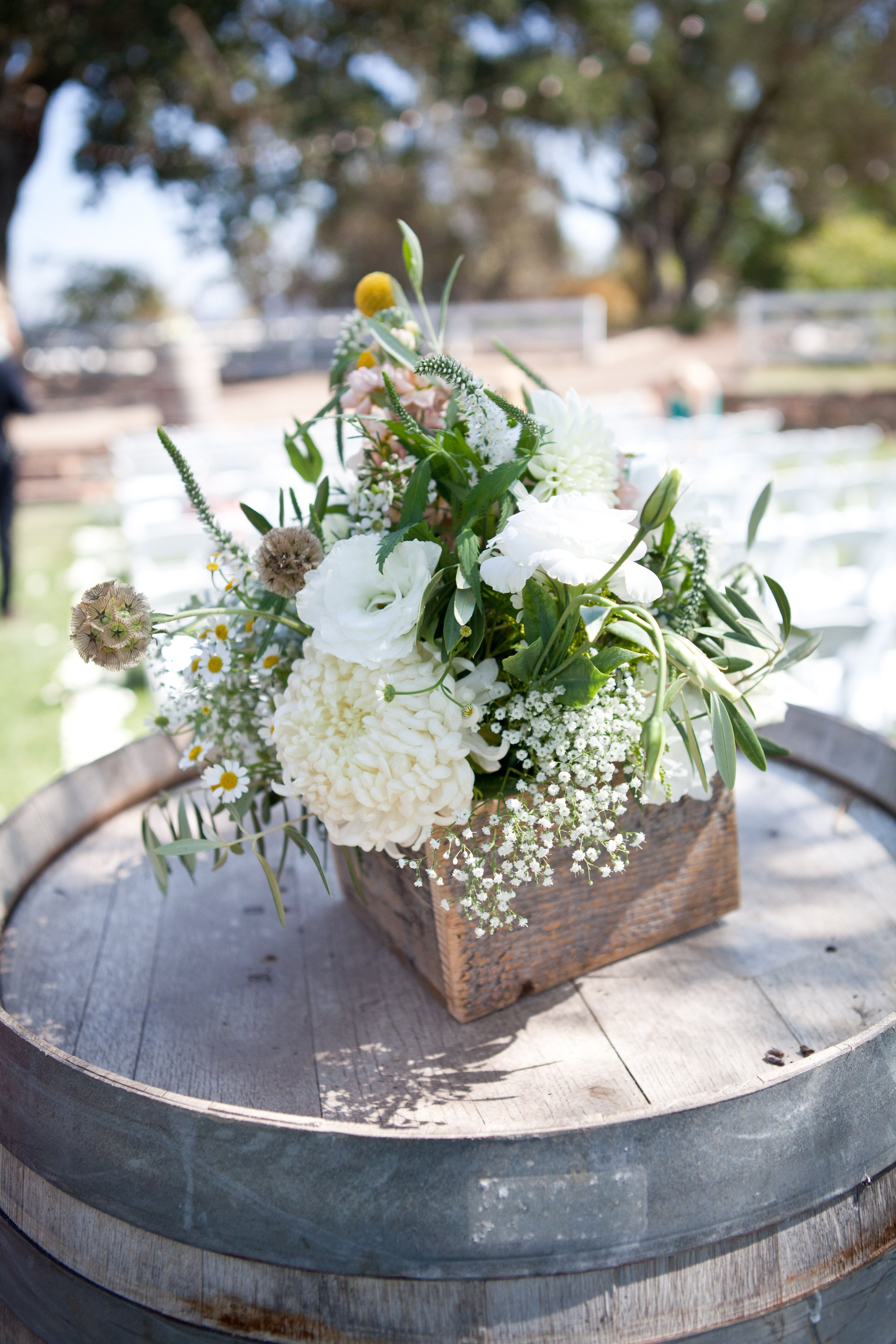 Ceremony Floral Arrangements In Rustic Wood Boxes