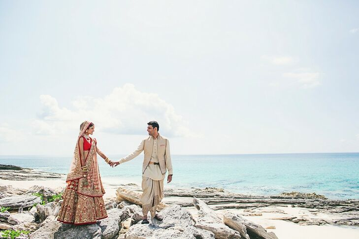 The couple hosted their wedding where Neeraj proposed, the Amanyara resort in Turks and Caicos, where the blue and green waters added another dimension of color to the Indian celebration.