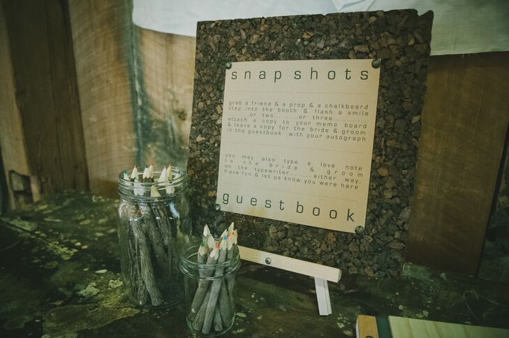 guest book sign and wooden pencils