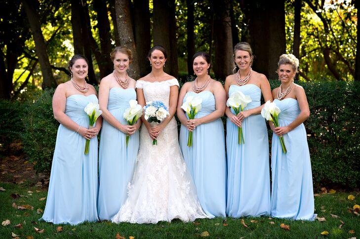 Blue Wedding Gowns: Carolina Blue Strapless Bridesmaid Dresses