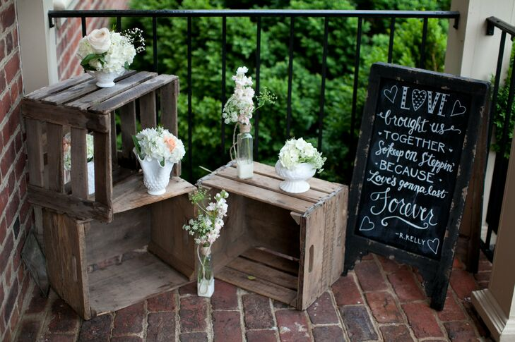 Chalkboard Quotes And Simple White Vase Centerpieces
