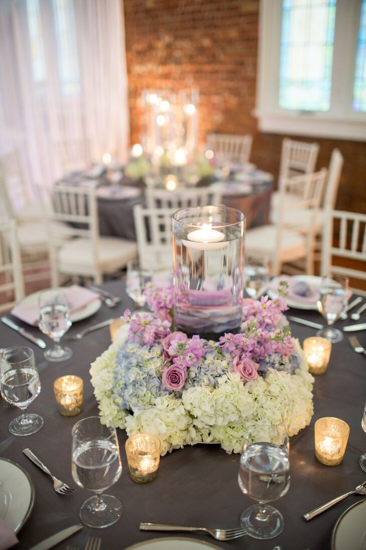 Lavender Roses White Hydrangea Romantic Wedding Centerpieces