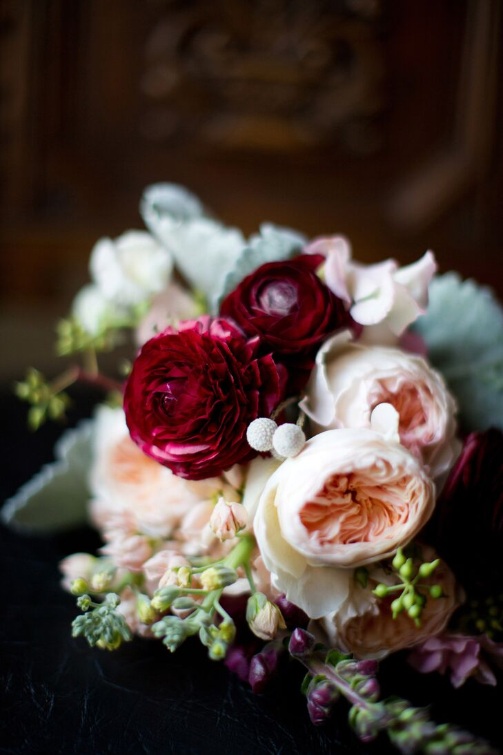 Blush pink and burgundy garden rose bouquet