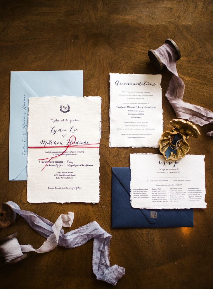"The simple and elegant stationery, designed by the bride's sister, was printed on textured paper and stamped with a custom ""double happiness"" symbol, a reflection of Lydia's Chinese heritage. The invitations were tied together with red thread. ""In Chinese culture, we believe that when two people are destined to be together, there is an unbreakable, invisible red thread. Two people connected by the red thread are destined to be together, regardless of time, place or circumstance."""
