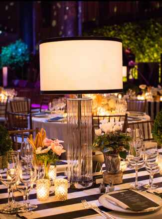 Lamp nonfloral wedding reception centerpiece