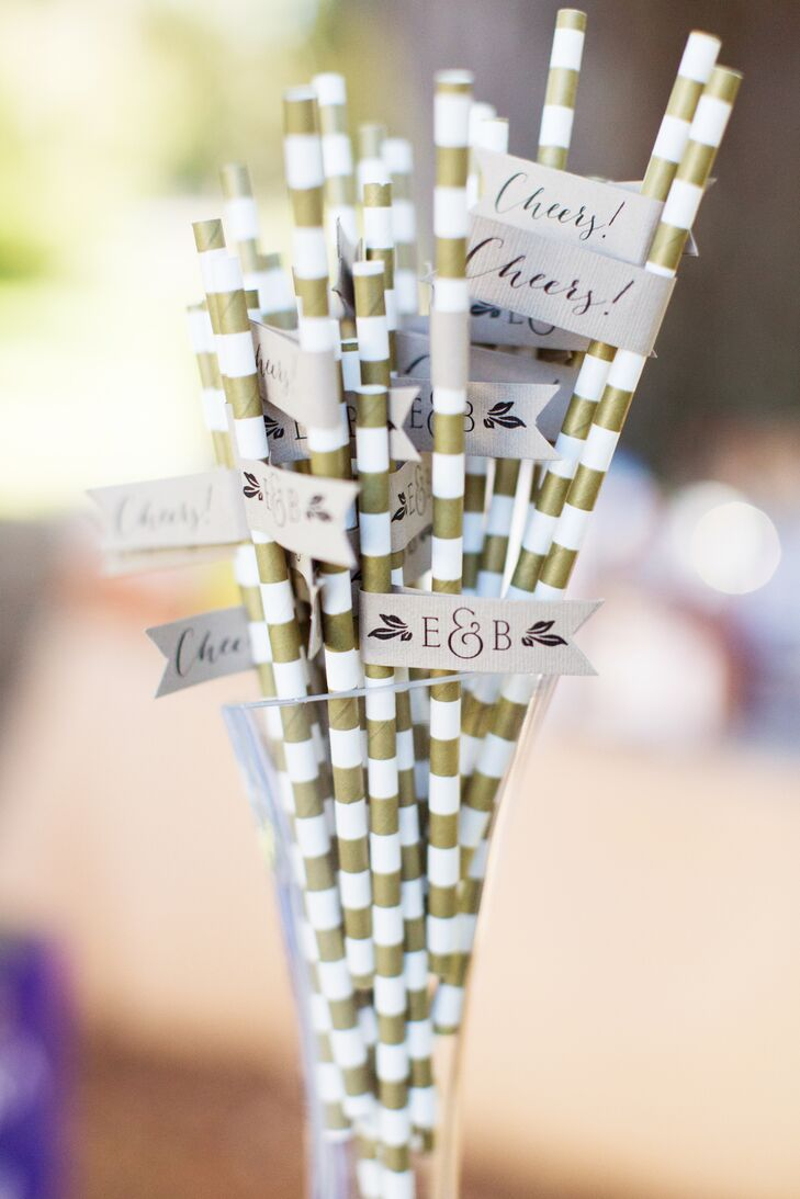 Gold-and-White-Striped Wedding Cocktail Hour Paper Straws