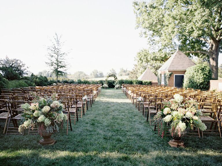 Romantic wedding ceremony aisle