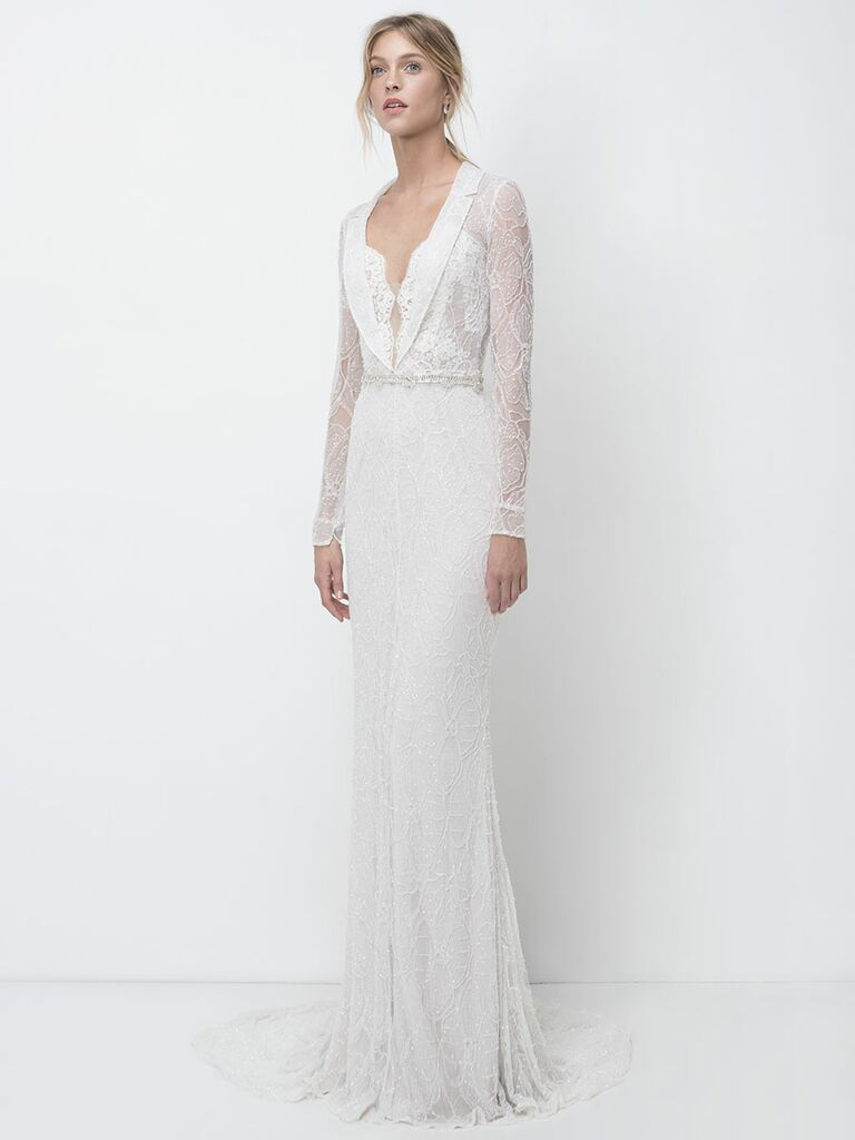 Lihi Hod Fall 2018 wedding dresses long-sleeve lace column gown