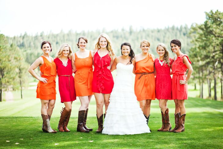 Red Yellow Bridesmaid Dresses
