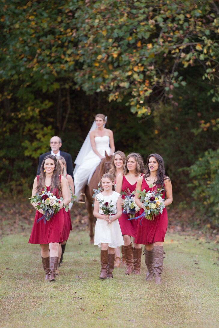 Short Cranberry Red Bridesmaid Dresses