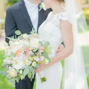 Calla lily white peach and green spring bridal bouquet junglespirit Images