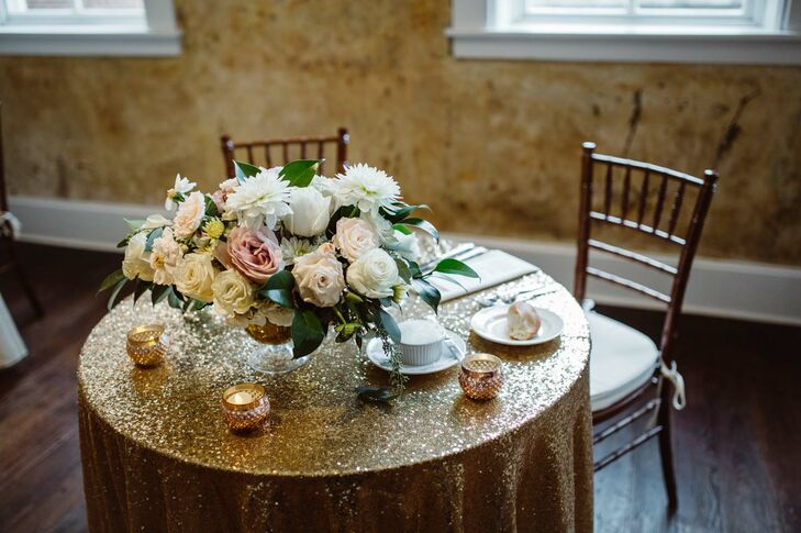 Gold Sequined Sweetheart Table