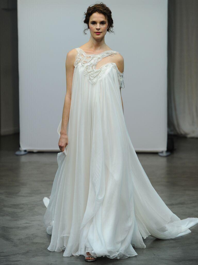 Draped Wedding Dress Long Mermaid Trumpet Modern Chic Wedding