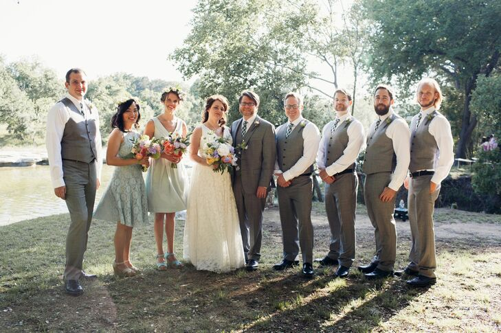 The wedding party matched the relaxed, natural style of Rocky River Ranch, and dressed to be comfortable outdoors. The bridesmaids selected their own mint dresses, and the groomsmen wore light gray vests and pants.
