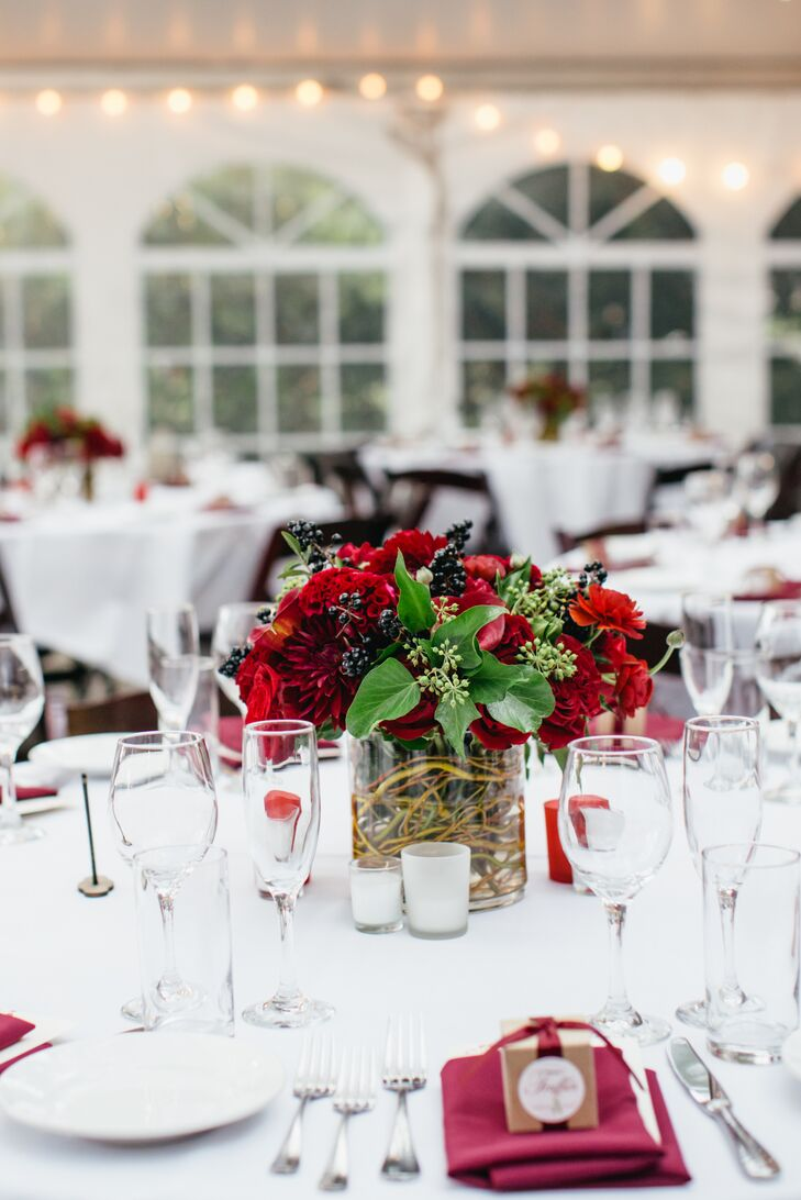 Red chrysanthemum dahlia and rose centerpiece