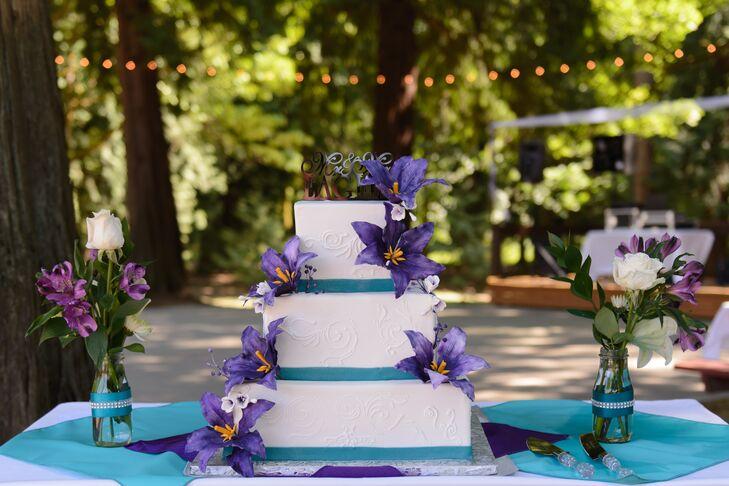Purple Blue And White Wedding Cake