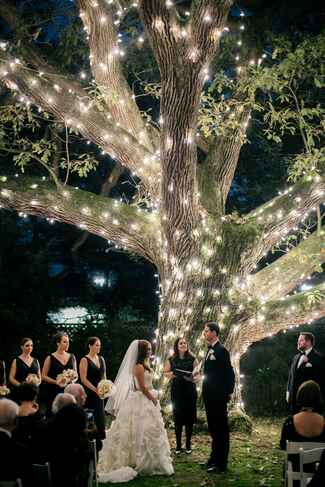 Nighttime outdoor wedding ceremony