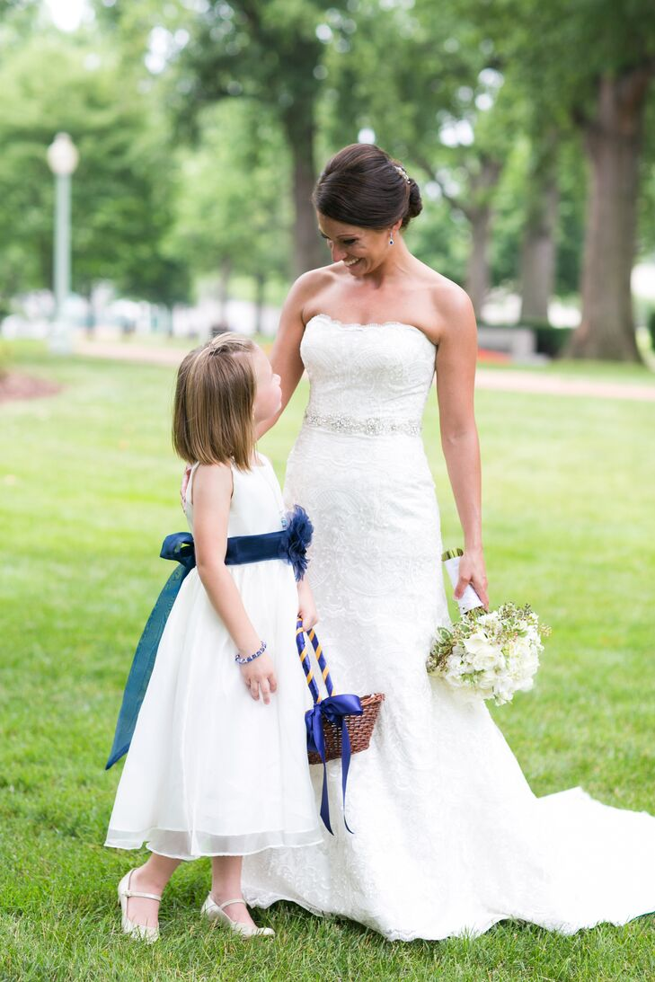 White And Navy Flower Girl Dress
