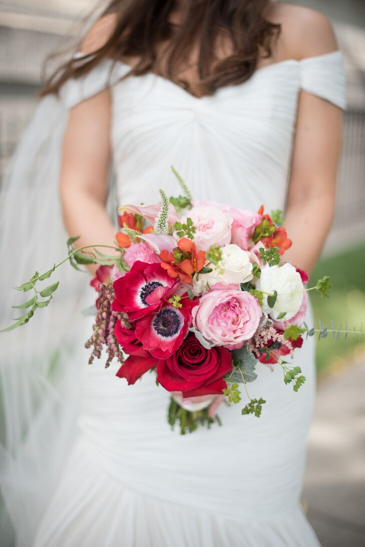 Red Pink And White Bridal Bouquet