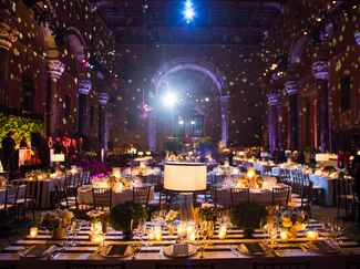 Reception lighting with candles and disco ball