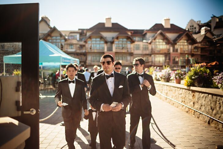 """We tried to be as timeless as possible and go black tie,"" Santino says. The groomsmen wore Vera Wang tuxedos."