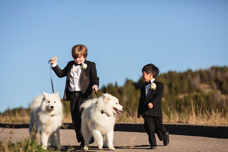 The ring bearers wore black tuxedos with single white rose boutonnieres.
