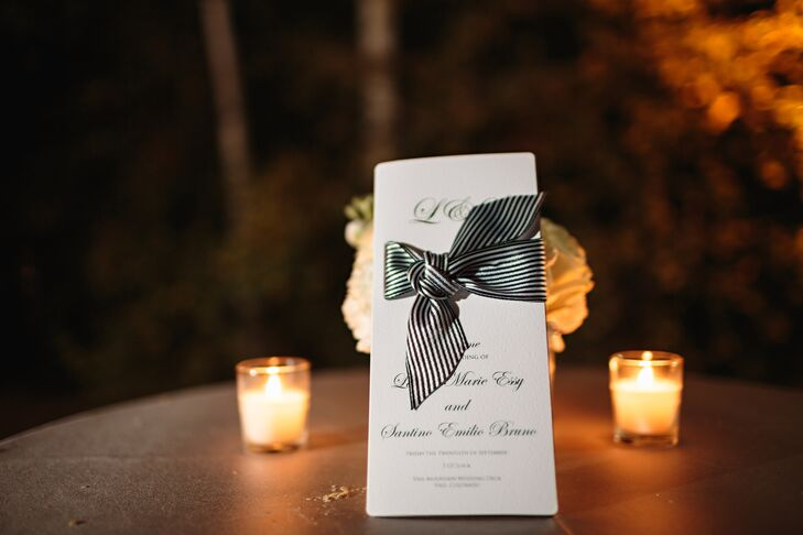 "The programs were tied with a thick black and white ribbon. ""We wanted guests to feel as if they were invited to some special, secret gala or something,"" Santino says."
