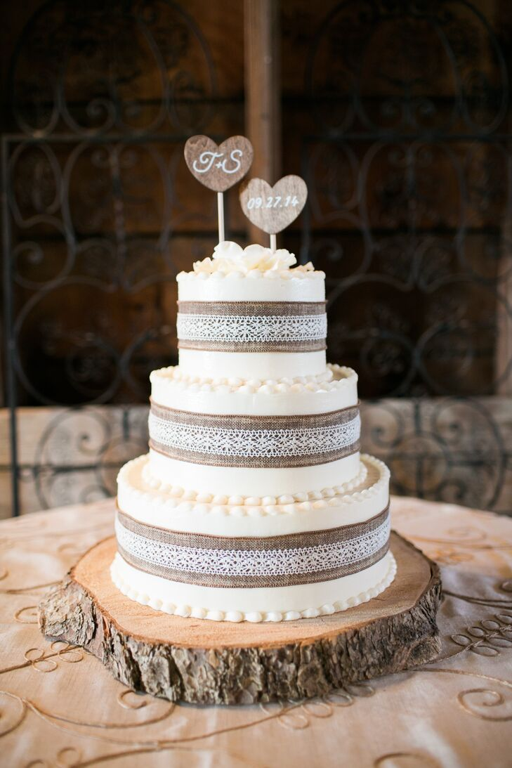 burlap and lace wedding cake wedding cake with burlap and lace and custom wood topper 12250