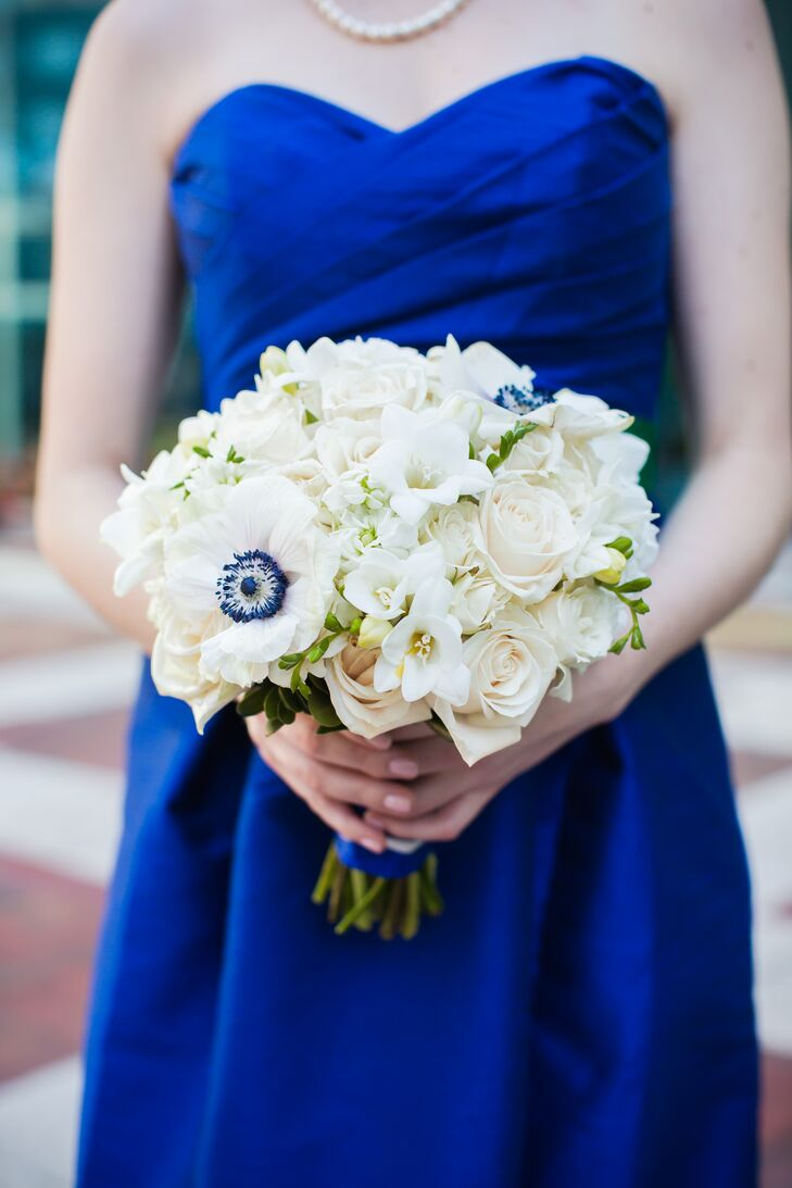 Bouquet With Navy Center Anemones