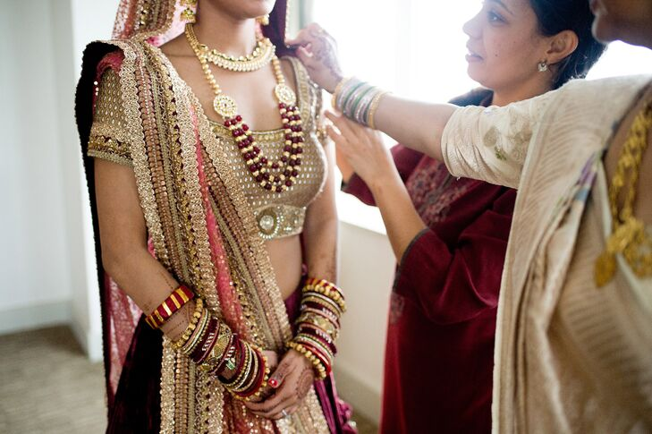 Traditional Gold Lehngas and Jewelry